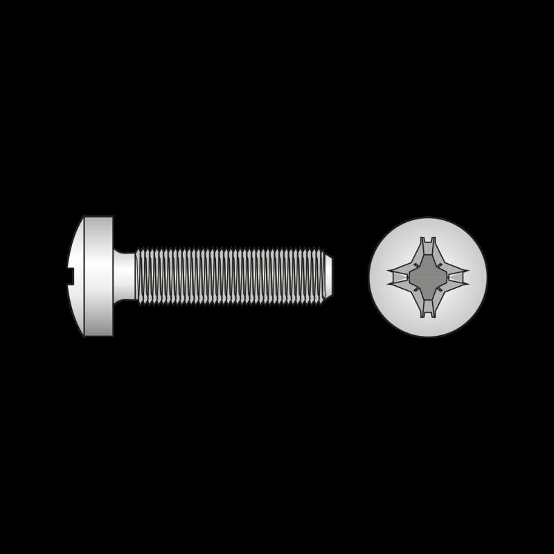 Surub Cap Bombat Locas Cruciform Otel gr.4.8 Zincat-M8x25