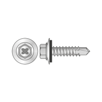 Surub Autoforant Cap Hex+Saiba 16mm Otel Zincat-6.3x 90