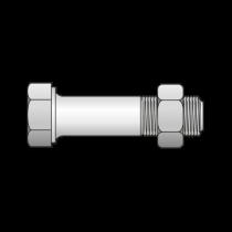 Surub Cap Hexagonal Partial Filetat+piulita 601 Otel Gr.4.6-M5 X 40