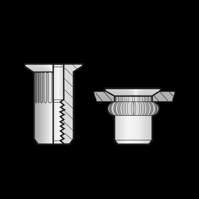 Piulite-nit Ingropate Cap Tesit Redus Inox-M 8 X 16