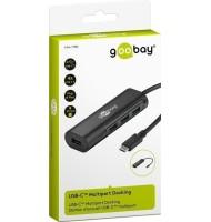 Adaptor USB-C Tata -  4x USB 3.0 A Mama Negru, Goobay