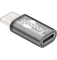 Adaptor Micro USB 2.0 (tIP B)   USB-C Negru, Goobay