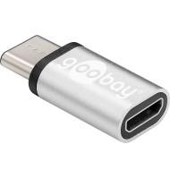 Adaptor Micro USB 2.0 (tIP B)   USB-C Argintiu, Goobay