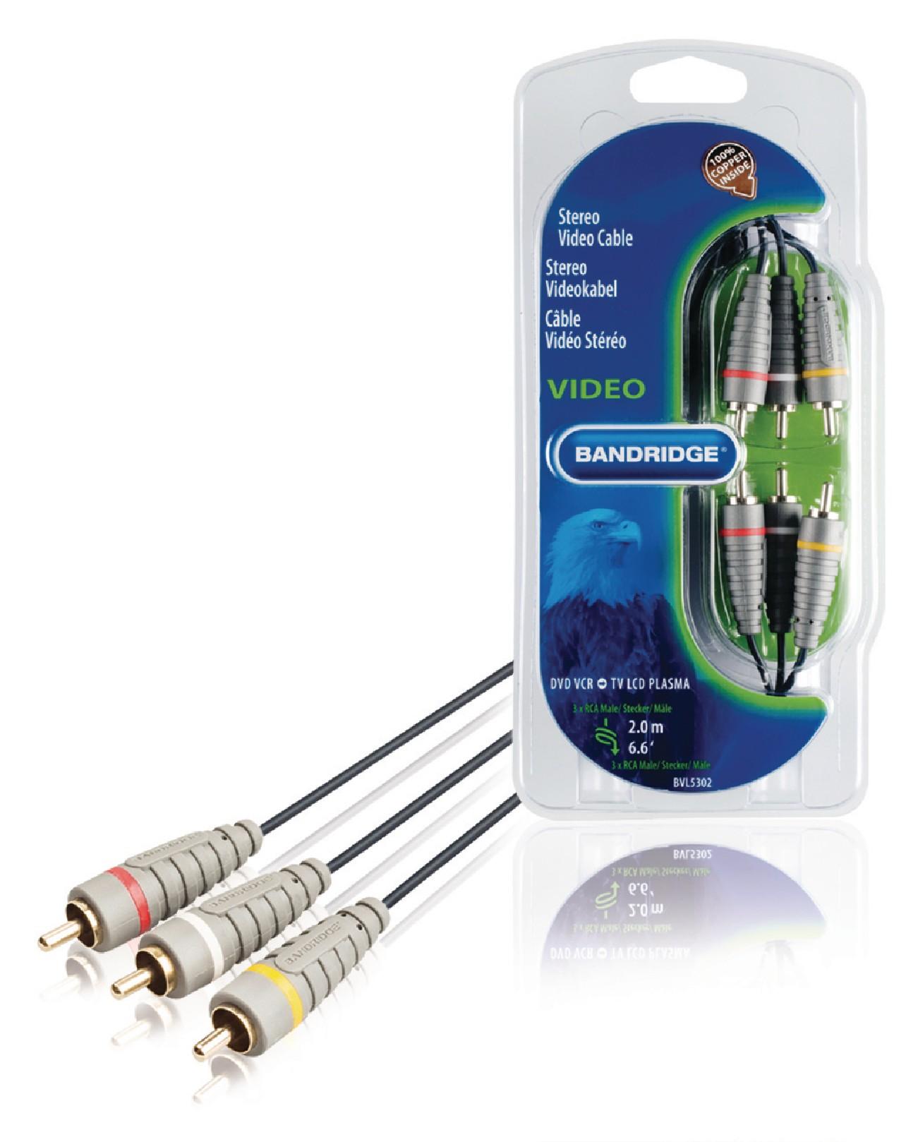 Cablu Audio-video 3x RCA 600Tata – 3x RCA 600Tata 2.0 M Albastru, Bandridge