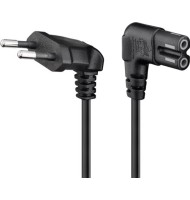 Cablu de Alimentare Pt. TV cu Conectori Cotiti Cee 7/16 - iec-60320-C7 Negru 3m