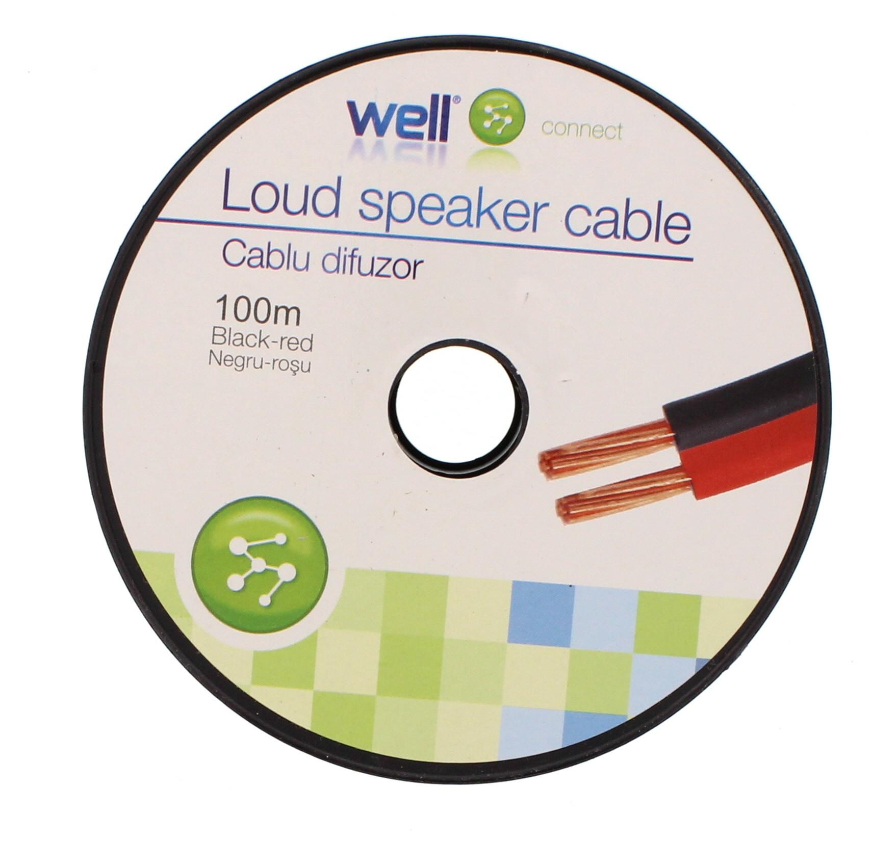 Cablu Difuzor Rosu/negru 2×0.35mmp, 100m, Well