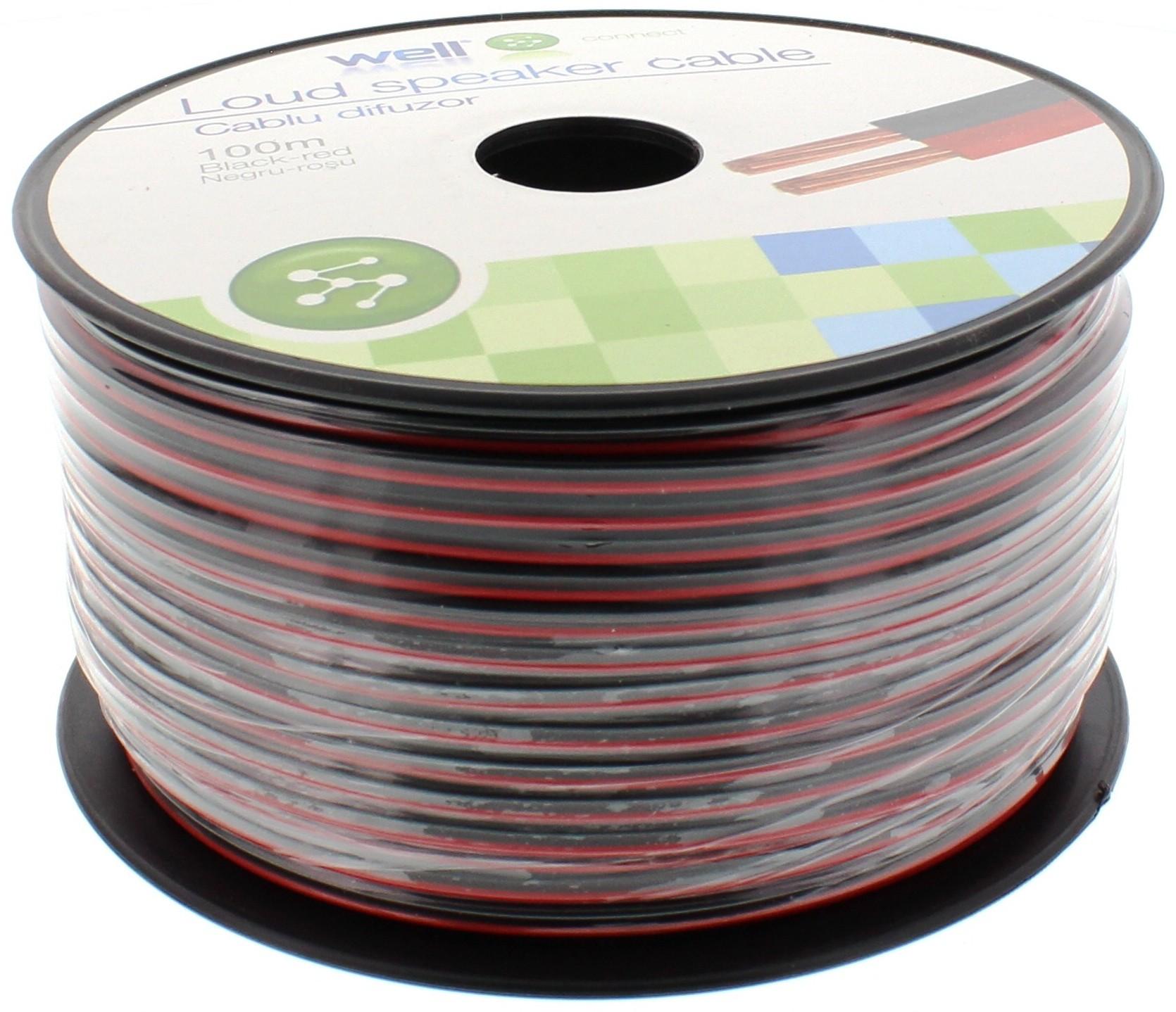 Cablu Difuzor Rosu/negru 2×0.50mmp, 100m, Well