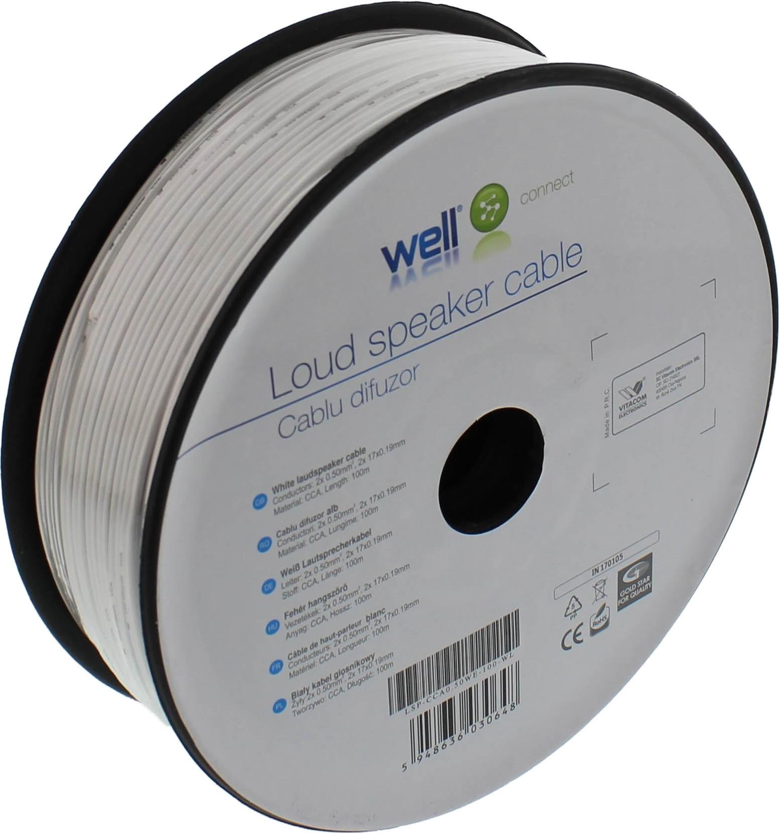 Cablu Difuzor Alb 2×0.50mmp, 100m, Well