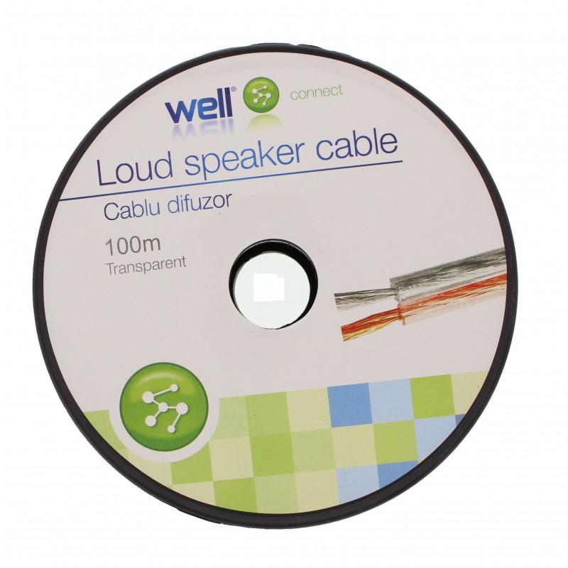 Cablu Difuzor Transparent 2x0.75mmp, 100m, Well