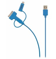 Cablu Alimentare si Sincronizare USB 2.0 A Tata - Micro B Tata cu Adaptor Lightning si Apple Dock 30 Pini, 1.0 M, Albastru