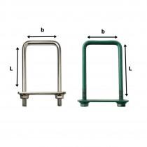 Brida Otel Rotund Model Bg Pentru Fixarea Panourilor De Gard Pe Stalpi Rectangulari Lxb 30x50 Mm Vopsit Ral 6005