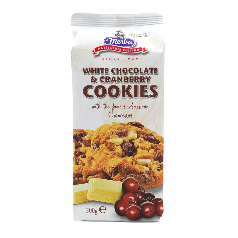 Merba - Cookies cu Ciocolata Alba si Cranberry 200g