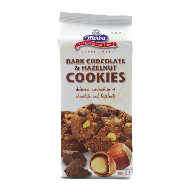 Merba - Cookies cu Ciocolata Neagra si Alune 200g