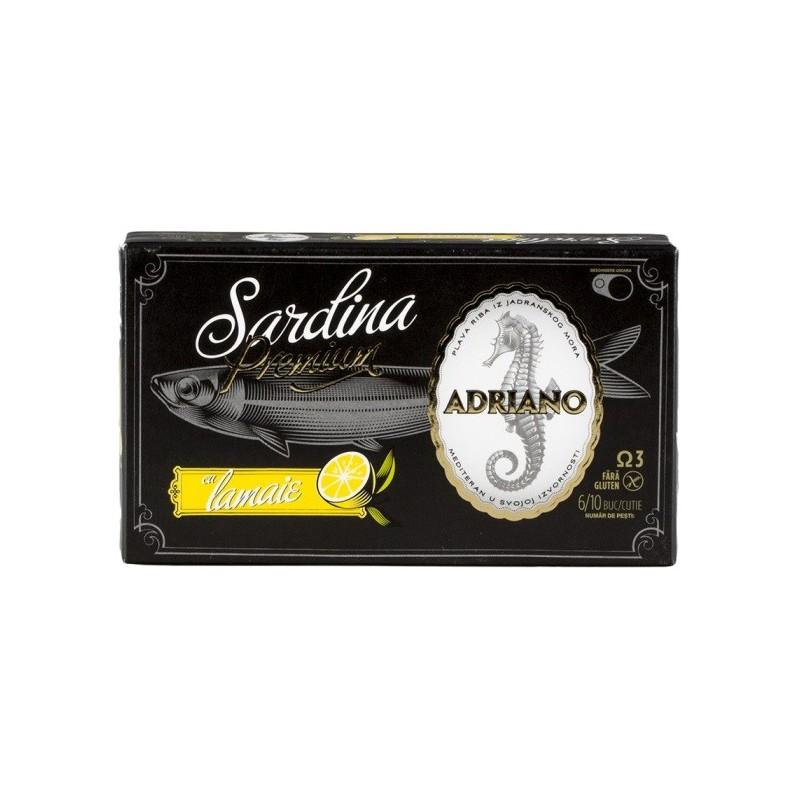 Adriano - Sardine Premium cu Lamaie 90gr
