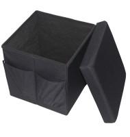 Taburet Pliabil cu Spatiu de Depozitare, 38x38x38 Cm, Grunberg Tb59 (negru)