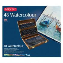 Cutie lemn 48 creioane acuarela Watercolour Derwent