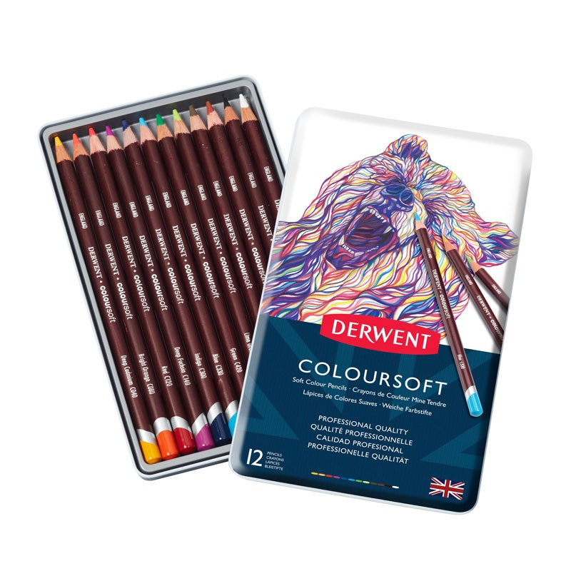 Set 12 creioane colorate Coloursoft Derwent
