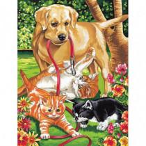 Pictura pe Numere Pisici si Caine