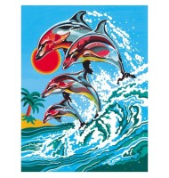 Pictura pe Numere Delfini in Valuri