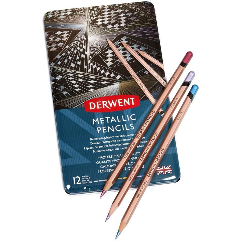 Set 12 creioane colorate Metallic Derwent
