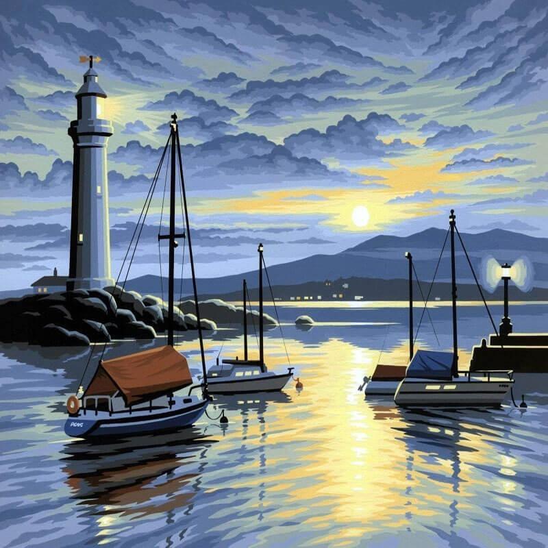Pictura pe Numere Port la rasarit