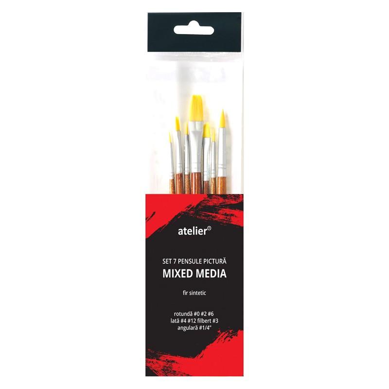 Set 7 pensule pictura mixed media Atelier