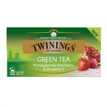 Twinings Ceai Verde cu Aroma de Rodie, Zmeura si Capsuni  25*1,5g