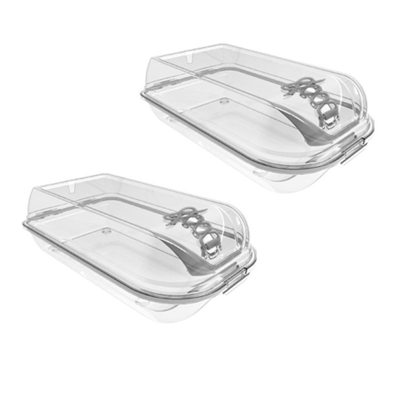 Set 2 Cutii Plastic Depozitare Pantofi 36 x 22 x 14 cm, Transparente Tp384, Tuffex