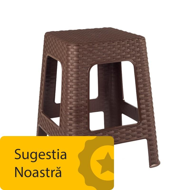 Scaun Taburet Ratan pentru Gradina, Maro, din Plastic , 28 x 28 x 45cm Tuffex TP7010
