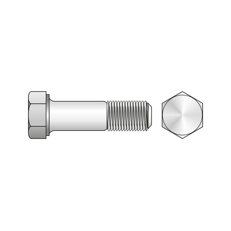 Surub Partial Filetat cu Cap Hexagonal DIN 931, Otel Gr.8.8, Zincat