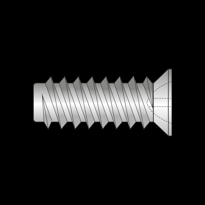 Euro-surub Cap Ingropat O7.7mm, Locas Z, Filet Dublu, Otel, Zincat