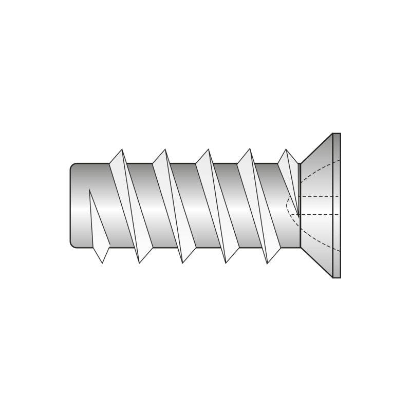Euro-surub Cap Ingropat O7.7mm, Locas Z, Filet Rar, Otel, Zincat