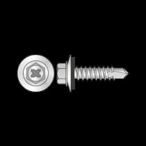 Surub Autoforant Cap Hex+saiba Epdm 16mm, Otel, Zincat