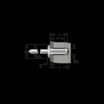 Pop-nit Ingropat Cap Bombat, Aluminiu-Otel