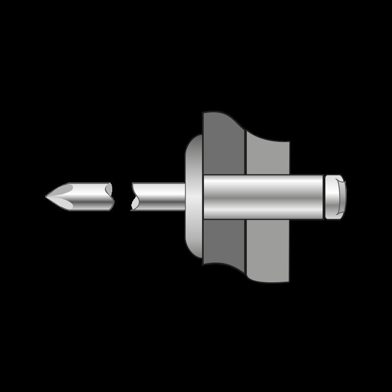 Pop-nituri Cap Lat, Aluminiu/aluminiu