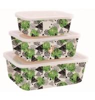Set 3 Cutii Depozitare Alimente, din Bambus, cu Capac, Grunberg BM001