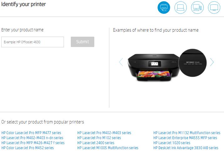 Selectare model imprimanta HP