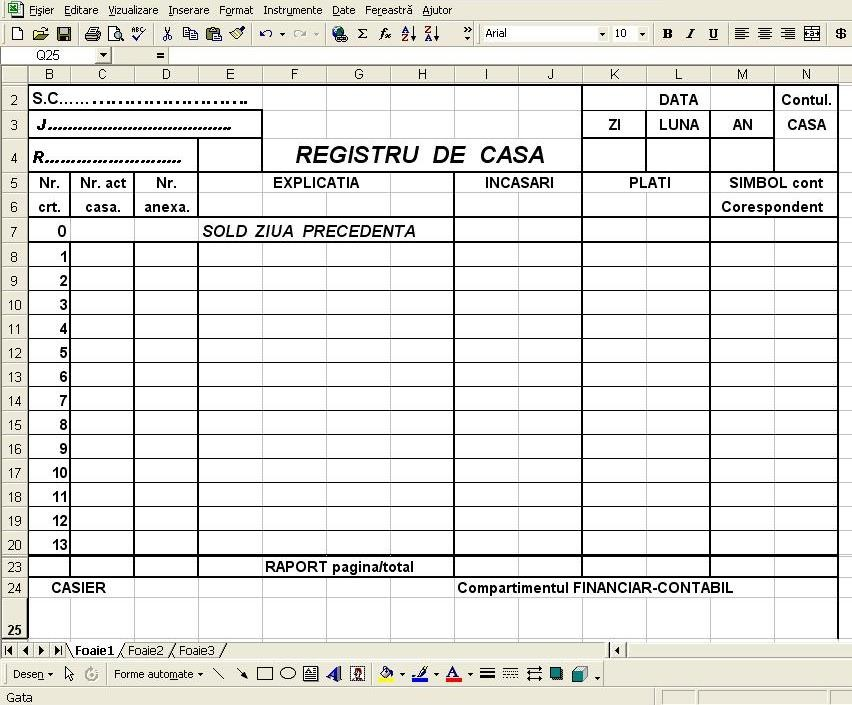 Model registru de casa in excel