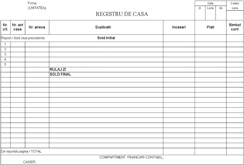 Model registru de casa contabilitate